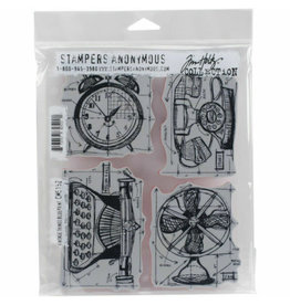 Stampers Anonymous Stampers Anonymous Tim Holtz Cling Mount Stamps - Vintage Things Blueprint CMS152