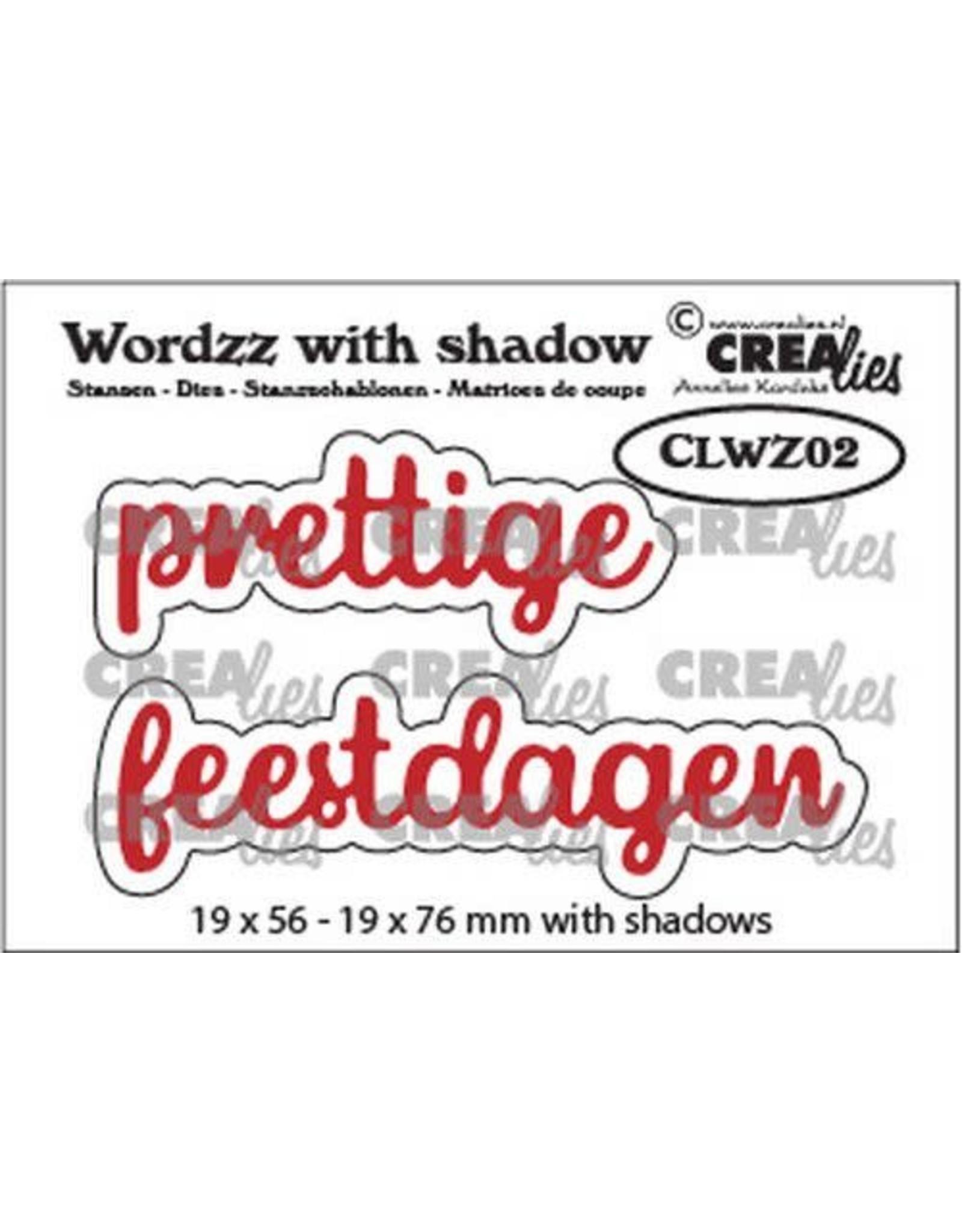 Crealies Crealies Wordzz with Shadow Prettige feestdagen (NL) CLWZ02 19x76 mm