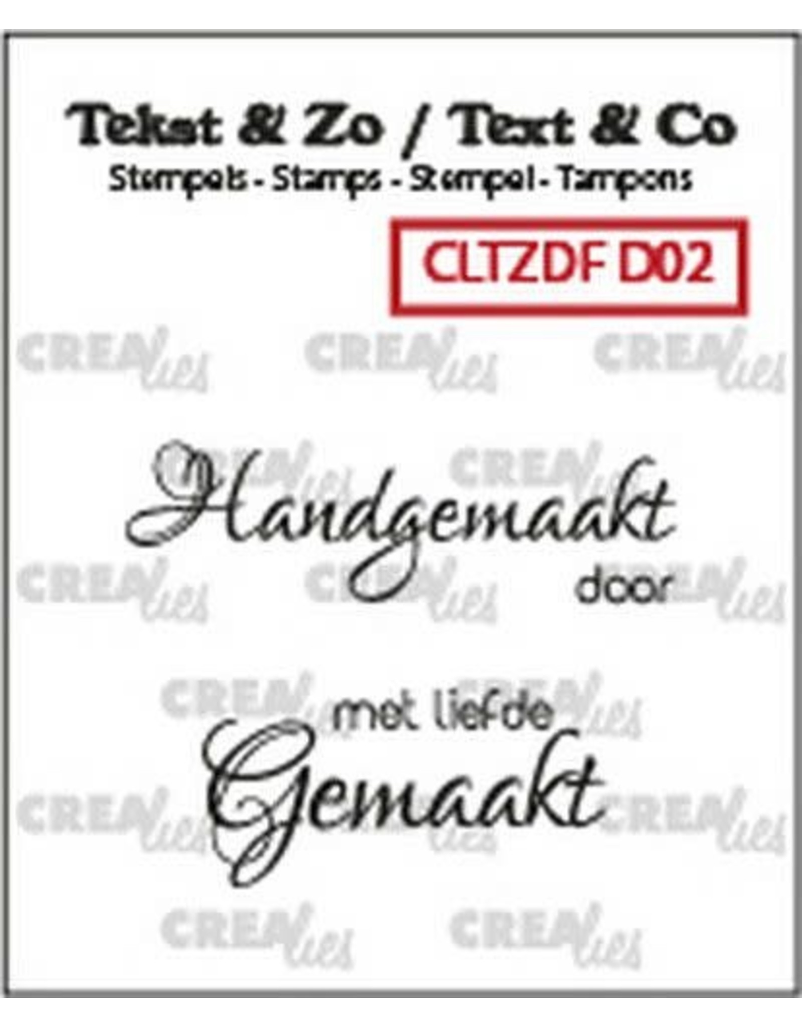 Crealies Crealies Clearstamp Tekst & Zo Font Divers no. 2 (NL) CLTZDFD02 38x11 mm