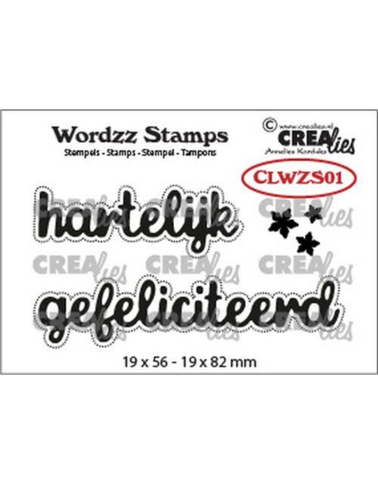 Crealies Crealies Clearstamp Wordzz Hartelijk gefeliciteerd (NL) CLWZS01 19x82 mm