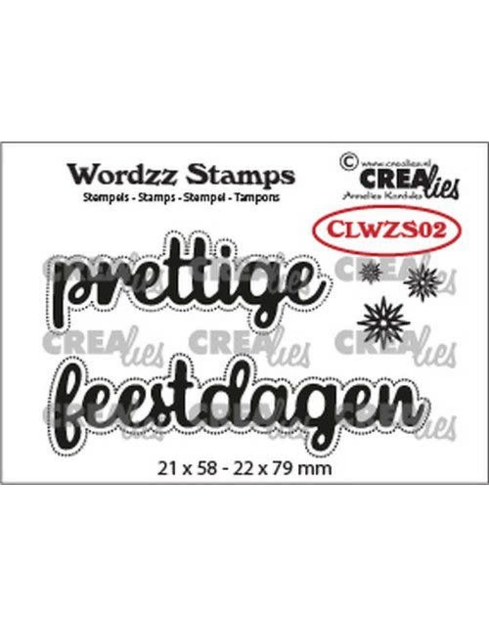Crealies Crealies Clearstamp Wordzz prettige feestdagen (NL) CLWZS02 22x79 mm