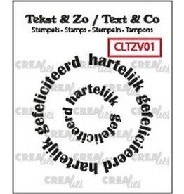Crealies Crealies Clearstamp Tekst & Zo Rond: hartelijk gefeliciteerd (NL) CLTZV01 20+42 mm
