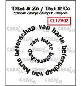 Crealies Crealies Clearstamp Tekst & Zo Rond: van harte beterschap (NL) CLTZV02 20+41 mm