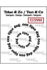 Crealies Crealies Clearstamp Tekst & Zo Rond: een fijne dag (NL) CLTZV03 20+39 mm