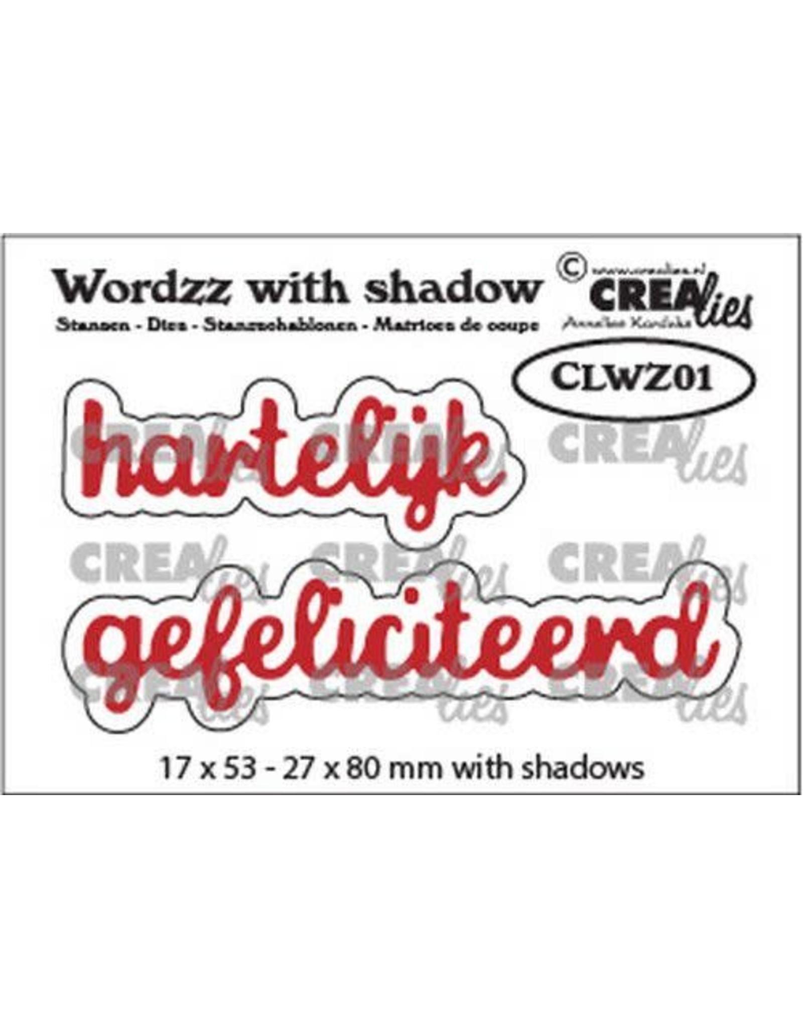 Crealies Crealies Wordzz with Shadow Hartelijk gefeliciteerd (NL) CLWZ01 22x85 mm