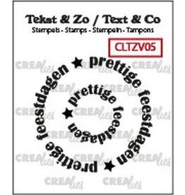 Crealies Crealies Clearstamp Tekst & Zo Rond: prettige feestdagen (NL) CLTZV05 21+40 mm