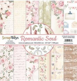 Scrapboys ScrapBoys Romantic Soul paperset 12 vl+cut out elements-DZ ROSO-08 190gr 30,5 x 30,5cm