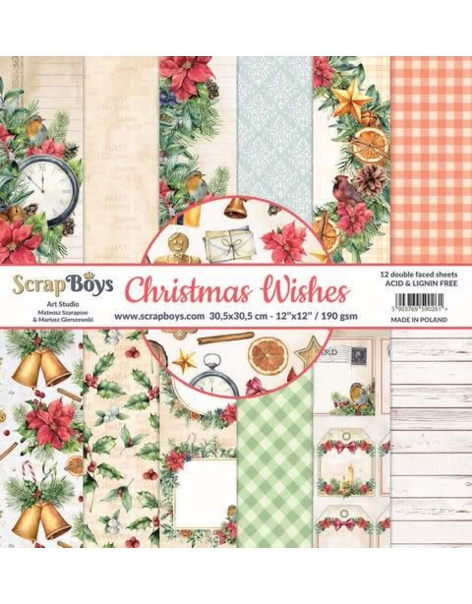 Scrapboys ScrapBoys Christmas Wishes paperset 12 vl+cut out elements-DZ CHWI-08 190gr 30,5 x 30,5cm