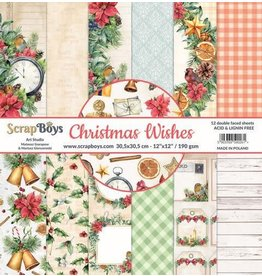 Scrapboys ScrapBoys Christmas Wishes paperset 12 vl+cut out elements-DZ CHWI-08 190gr 30,5 x 30,5cm