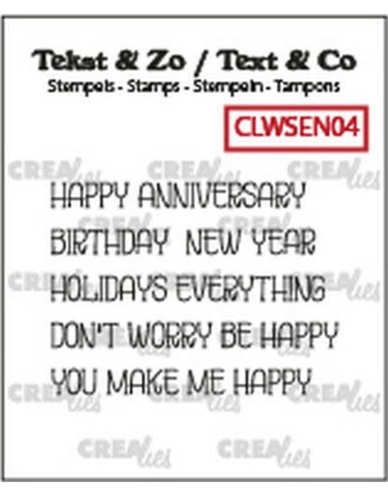 Crealies Crealies Clearstamp Tekst & Zo woordstrips HAPPY (Eng) CLWSEN04