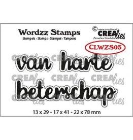 Crealies Crealies Clearstamp Wordzz van Harte beterschap (NL) CLWZS03 22x78mm