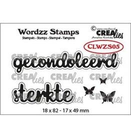 Crealies Crealies Clearstamp Wordzz Gecondoleerd sterkte (NL) CLWZS05 18x82mm