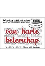 Crealies Crealies Wordzz with Shadow van Harte beterschap (NL) CLWZ03 19x75mm