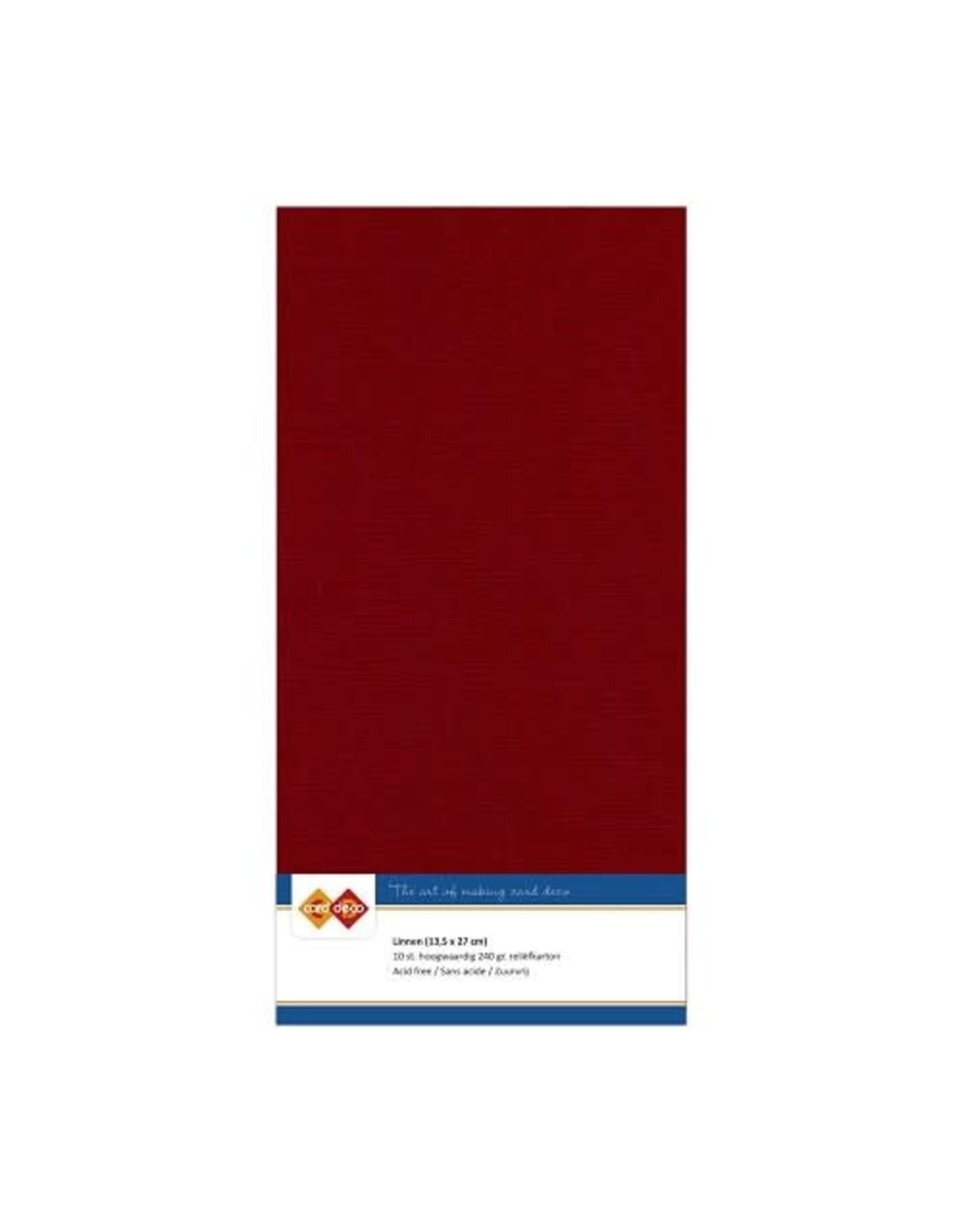 Card Deco Card Deco EssentialsLinnenkarton - Vierkant - Bordeaux rood