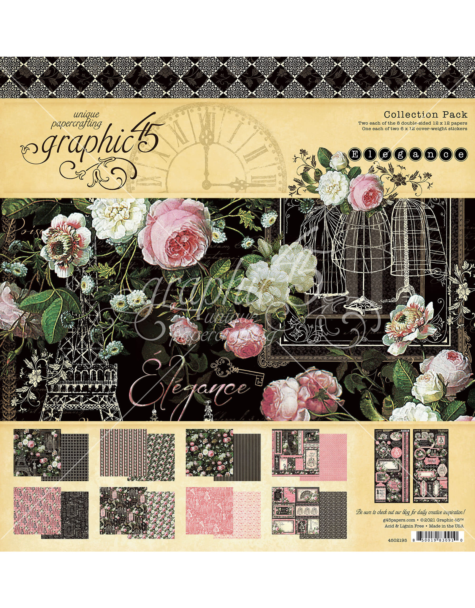 Graphic 45 Graphic 45 Elegance paperpad 12x12 (30 .5 x 30.5cm)
