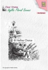 Nellie's Choice Nellies Choice clearstamp - Idyllic Floral - Vogelnest IFS032 80x103mm