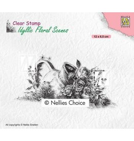 Nellie's Choice Nellies Choice clearstamp - Idyllic Floral - Vaas met roos IFS034 120x65mm