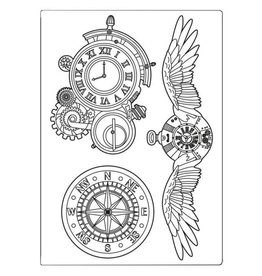 Stamperia Stamperia Mixed Media Mould A5 Sir Vagabond Clocks and Wings (KACM06)
