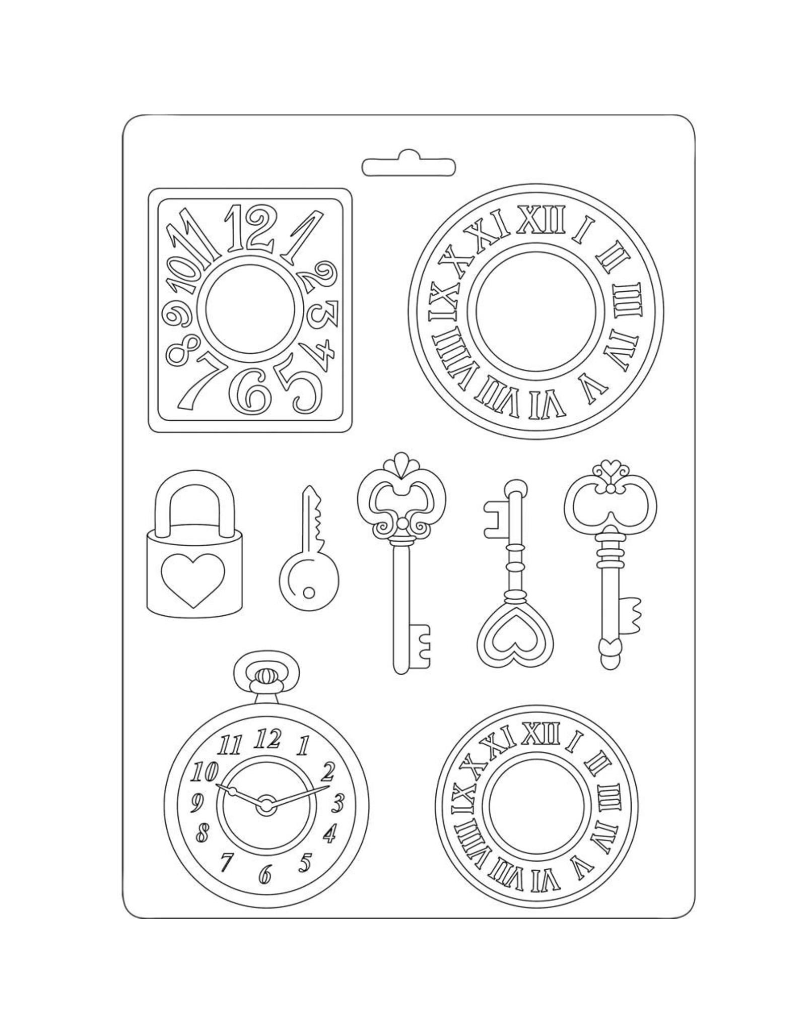 Stamperia Stamperia Soft Mould A5 Clocks and Keys (K3PTA532)