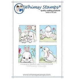 Whimsy Stamps Whimsy Stamps Bunny Spring Squares Rubber Cling Stamp