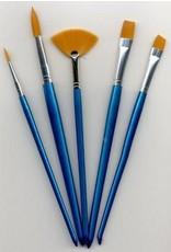 hobby crafting fun Penselen set nylon 2x plat en rond 1x waaier 5 ST