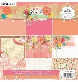 Studio Light Studio Light Paper pad Pattern Paper Say it with flowers nr.161 SL-SWF-PP161 150x150mm