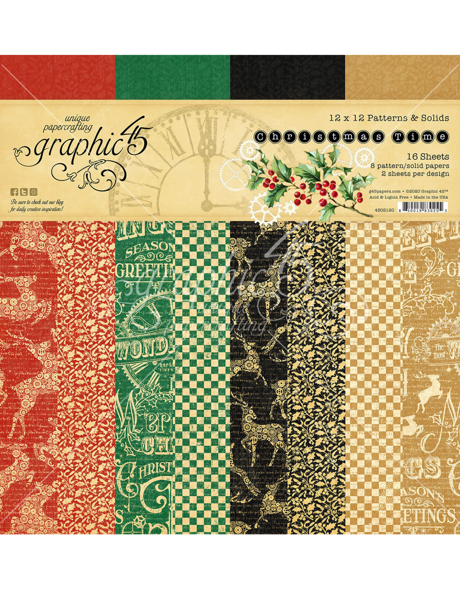Graphic 45 Graphic 45  Christmas Time   12'x 12'  Patterns & Solids pad