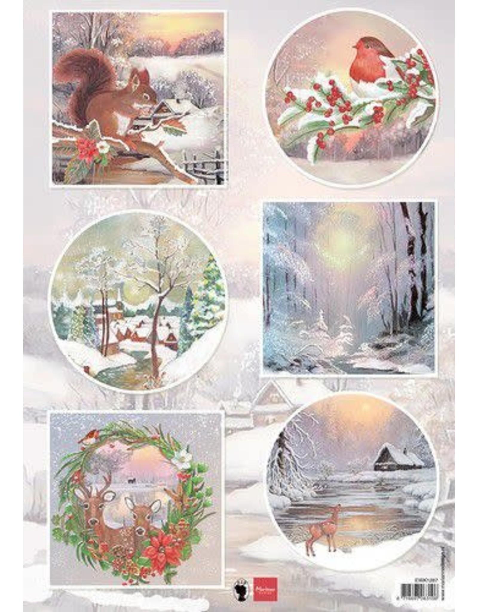 Marianne Design Marianne D Decoupage Winter wishes - Eekhoorn EWK1287 A4