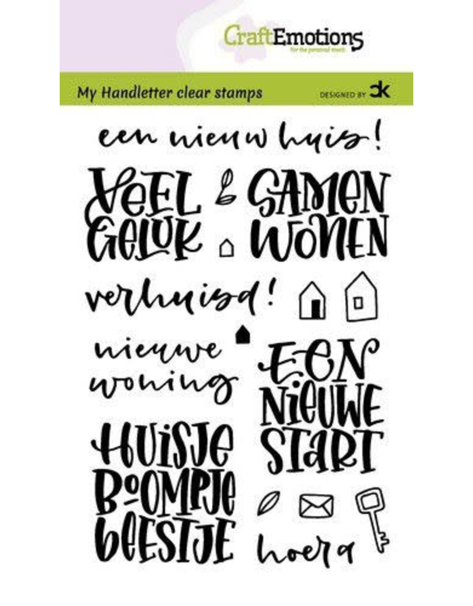 Craft Emotions CraftEmotions clearstamps A6 - handletter - Nieuwe Woning tekst (NL) Carla Kamphuis