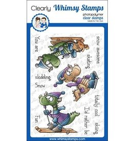 Whimsy Stamps Whimsy Stamps Winter Sports Dragons Clear Stamps