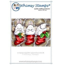 Whimsy Stamps Whimsy Stamps Christmas Bunny Stockings Rubber Cling Stamp