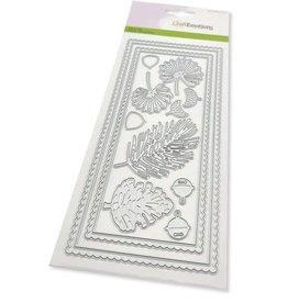 Craft Emotions CraftEmotions Die - Slimline scalop - Xmas floristics Card 27,5x11cm Die 21x9,8cm