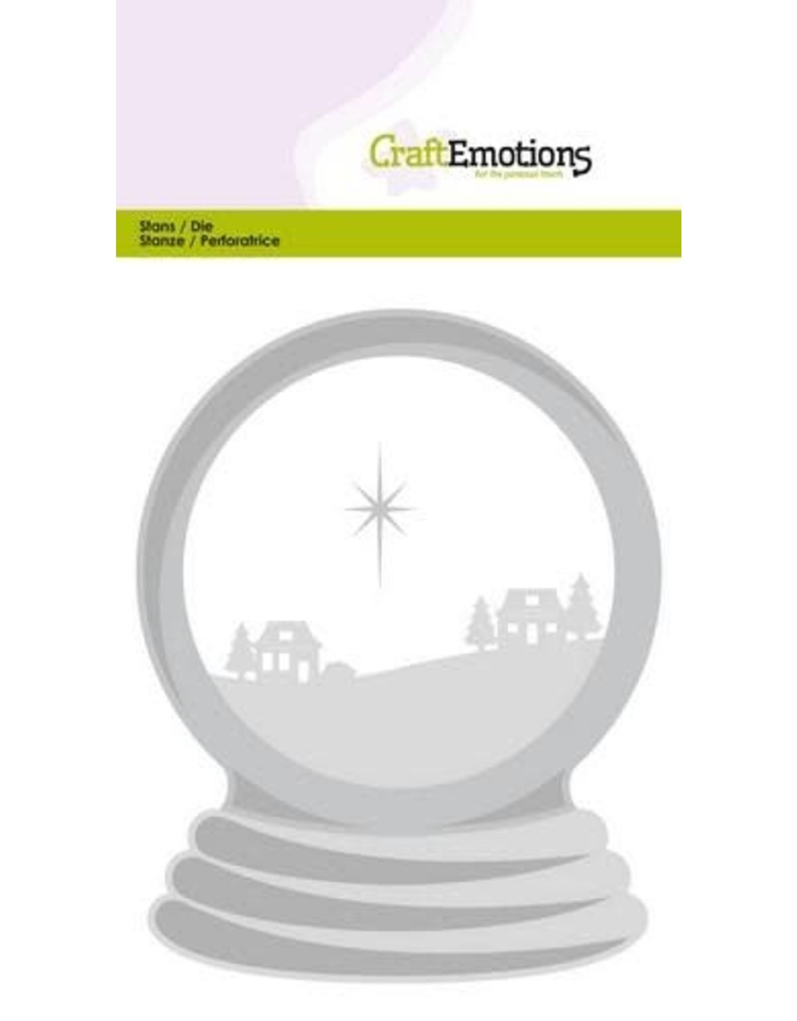 Craft Emotions CraftEmotions Die - sneeuwbol met huisjes Card 10,5x14,8cm