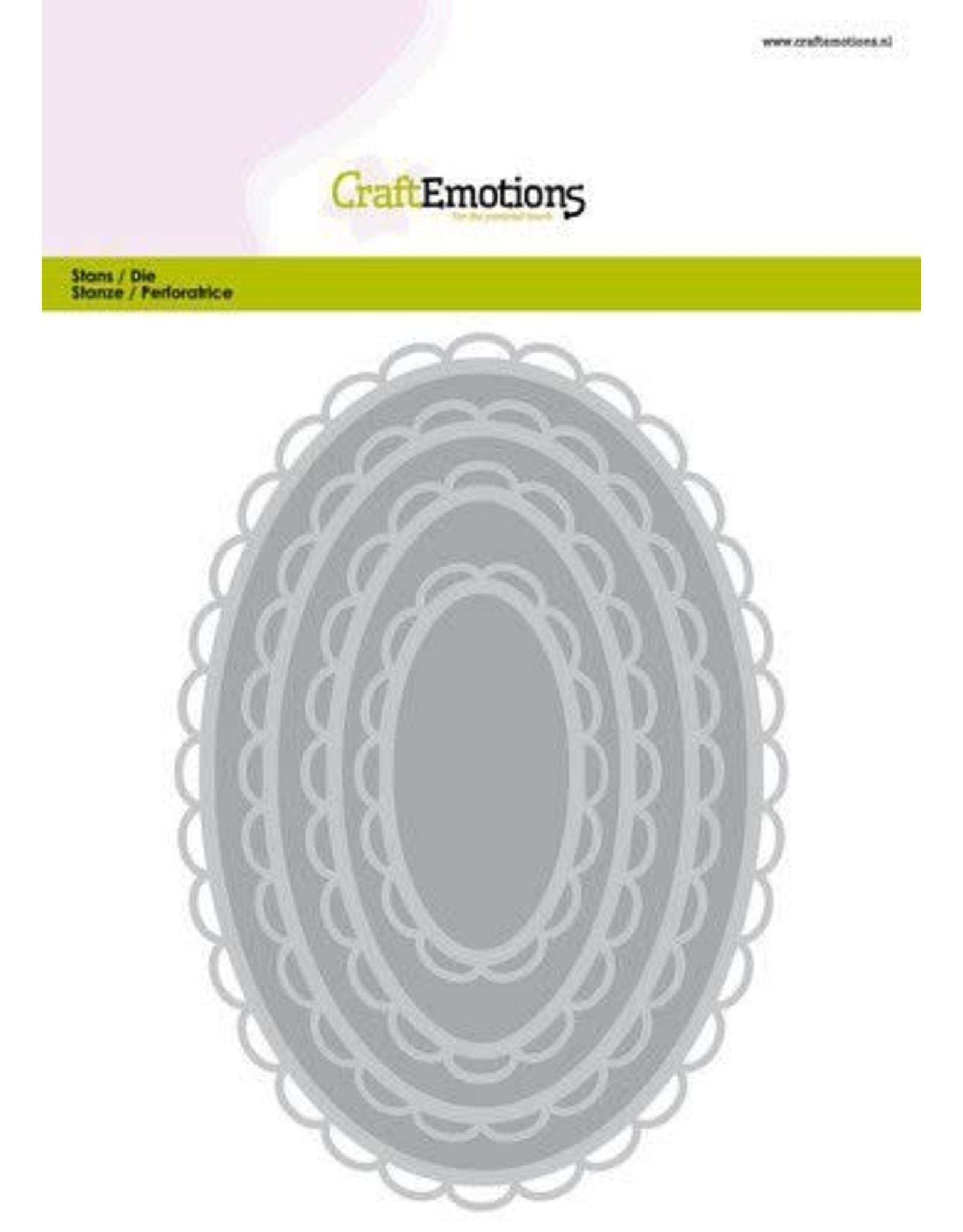 Craft Emotions CraftEmotions Big Nesting Die - ovalen scalop XL open Card 150x160 6,8-15,0cm