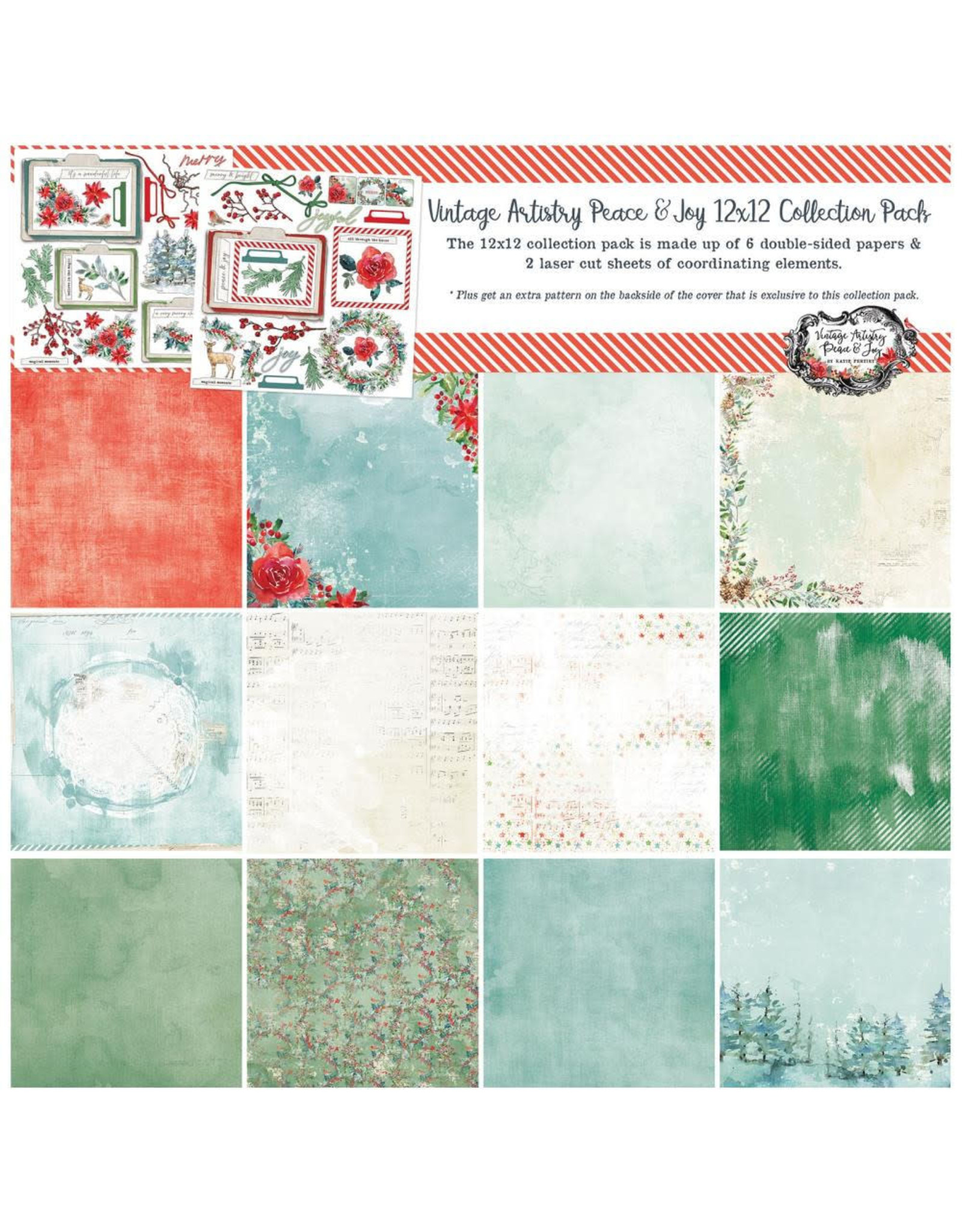 """49 and Market 49 and Market Vintage Artistry Peace & Joy - Collection Pack 12x12"""""""