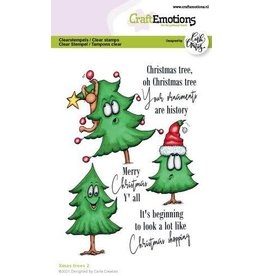 Craft Emotions CraftEmotions clearstamps A6 - Xmas trees 2 (Eng) Carla Creaties