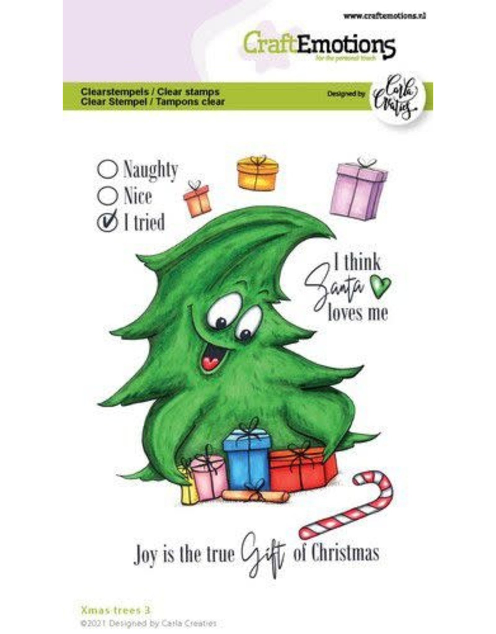Craft Emotions CraftEmotions clearstamps A6 - Xmas trees 3 (Eng) Carla Creaties