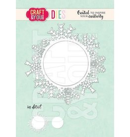 Craft & You Craft&You Cutting Die Sneeuwvlok frame rond CW154