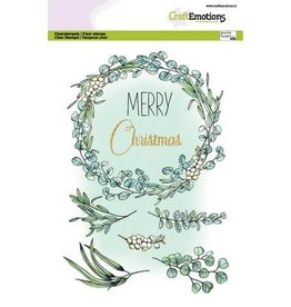 Craft Emotions CraftEmotions clearstamps A5 - Eucalyptus krans Merry Christmas GB Dimensional stamp