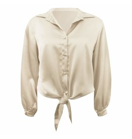Imperium Looks SILK BOW BLOUSE CHAMPAGNE