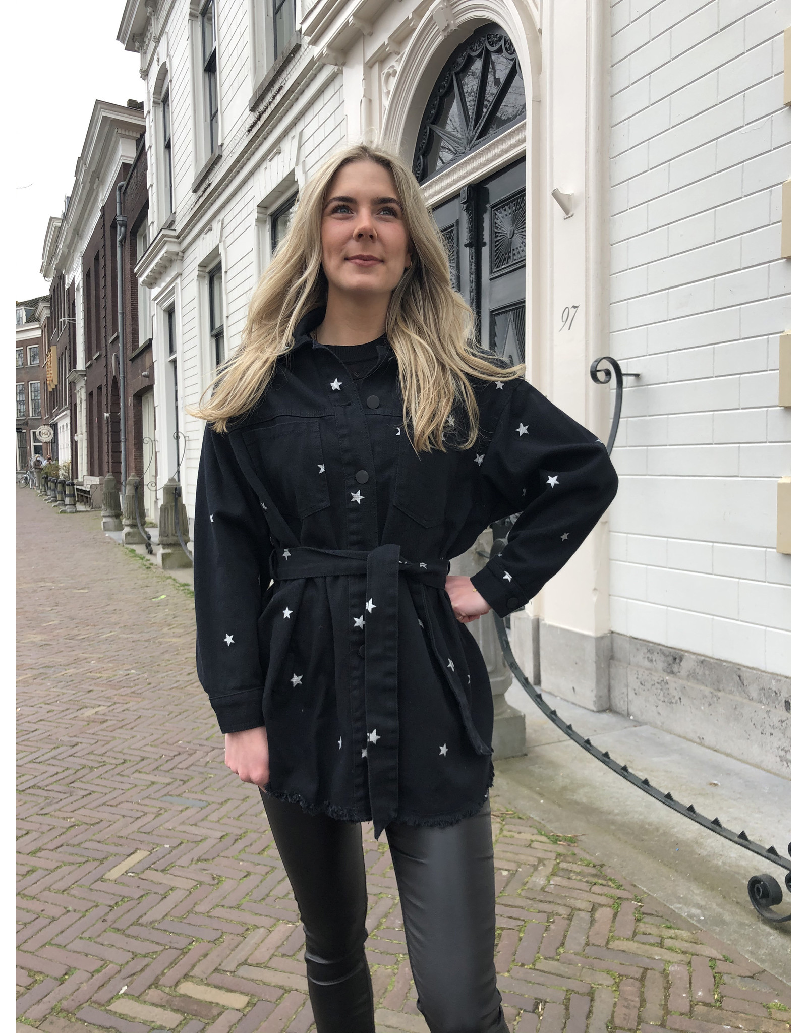 Imperium Looks DENIM JACKET STARS ALL OVER SILVER
