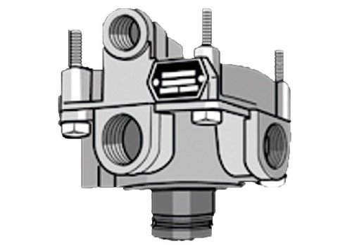 Knorr relaisklep, 2 x M22x1,5 en 1 x M16x1,5, ingebouwde geluidsdemper