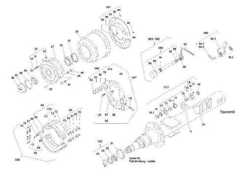 SAF Remschoengroep, met remvoeringen, met onderdelen 65,71-73 - RS 300x200