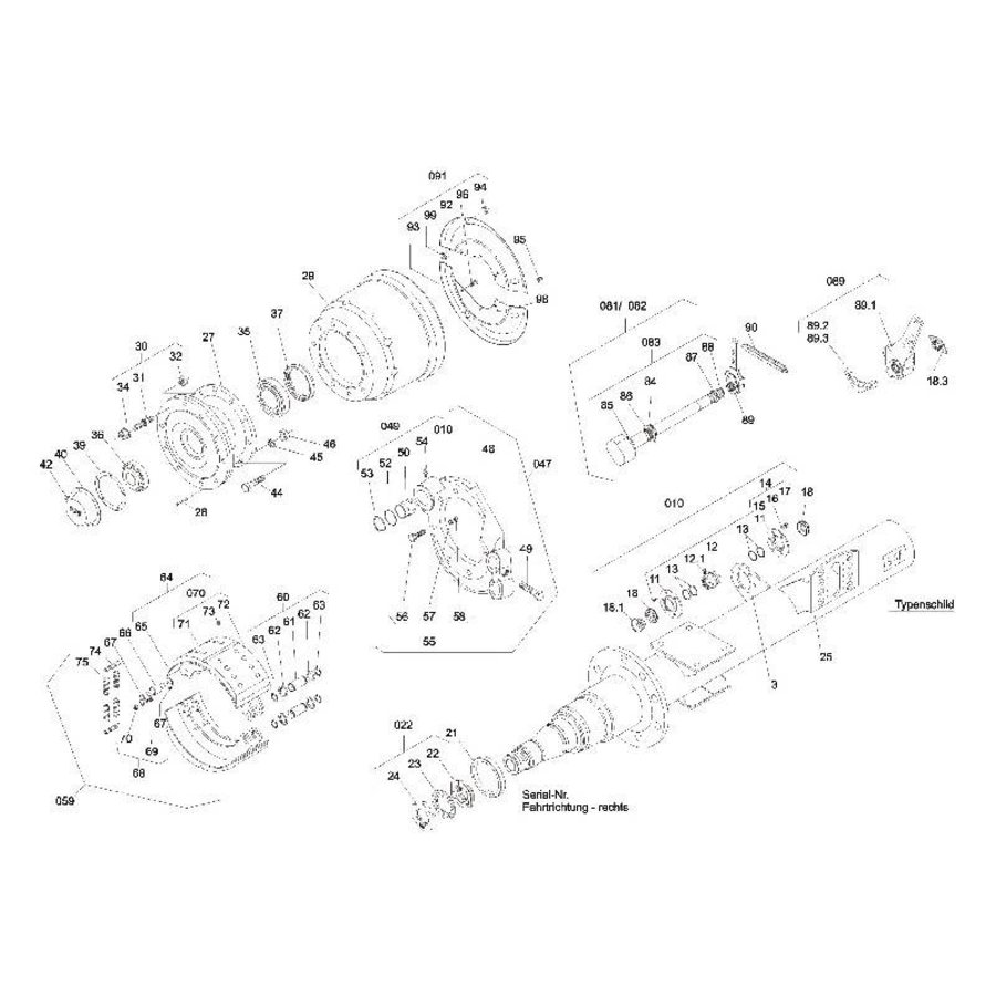 Remaslagering RZ/WRZ(M) 8130/11030 RZ/WRZ(M) 8435/11035, met onderdelen 11-20-1