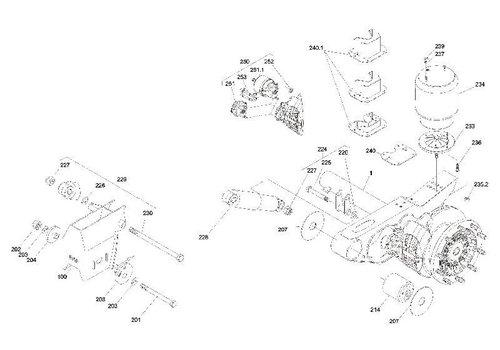 SAF Zeskantbout groep M24x2x180 mm, met onderdelen 225-227 - schokdemperbout M24x310 + moer + ring