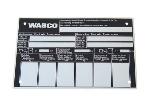 Wabco ALR controleschild, voor mechanise vering
