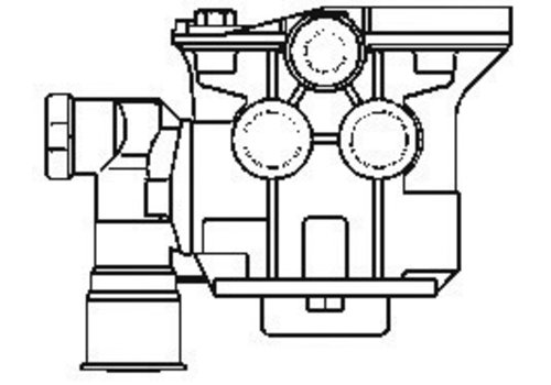 Wabco aanhangwagenremklep, 2x M16x1,5 en 3x M22x1,5, instelbare voorijling