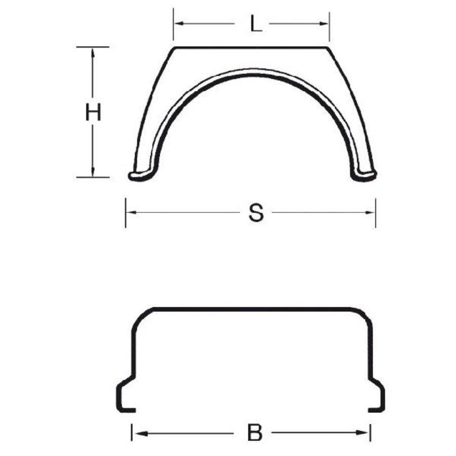 Kunststof spatschermen J-serie (Flat Top) 450 x 500 (OUTLET)-2