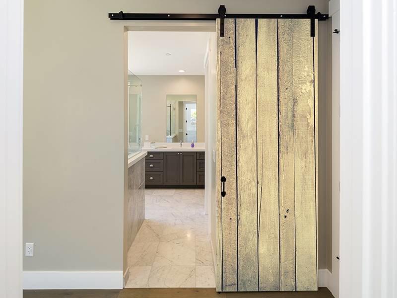 Een Sloophout Interieur : Deursticker sloophout planken verticaal sticky decoration