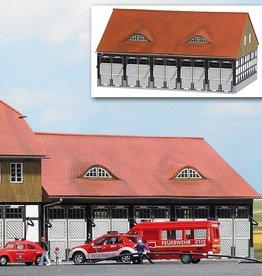 Busch Busch 1451 Feuerwehr Fahrzeughalle Schweningen ( Echtholz Bausatz )